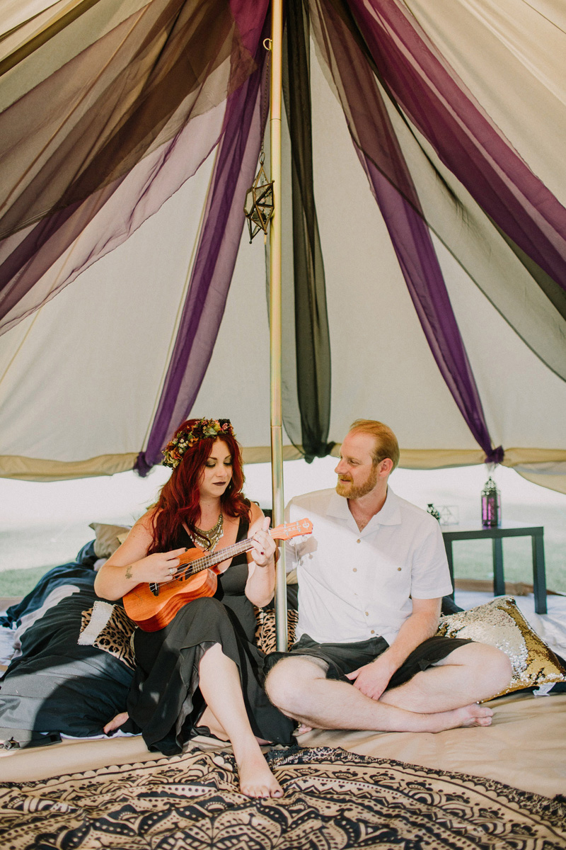 A darkly ecelectic jam session wedding with tux shirts & In-n-Out