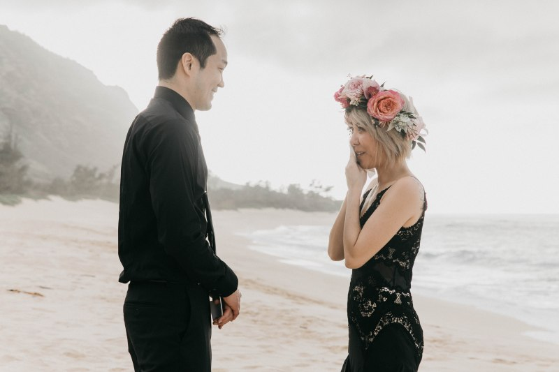NYC to Hawaii: this pair self-united at their elopement in Oahu