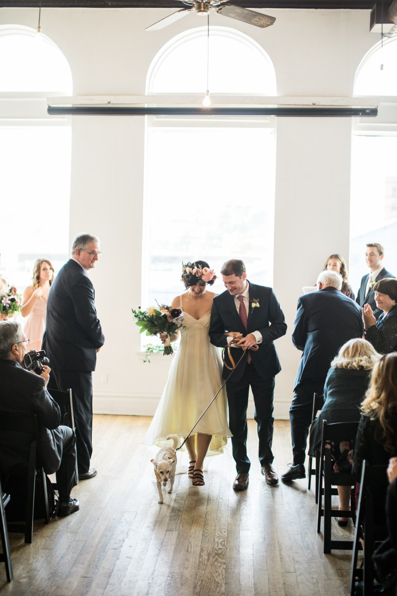 Champagne wishes & flower crown dreams at this Thursday evening dinner party wedding