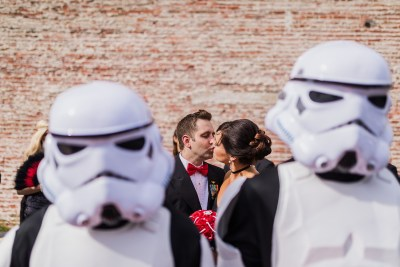 This May the Fourth wedding had dancing storm troopers, original art, & a killer black dress