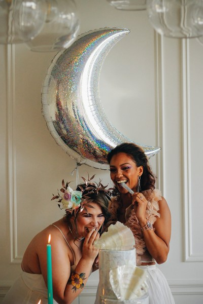 This iridescent & holographic wedding style is like Lisa Frank all grown up