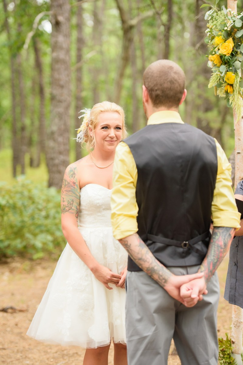Yellow flowers, pub crawls, & a Jedi knighting at this New Jersey woodland wedding