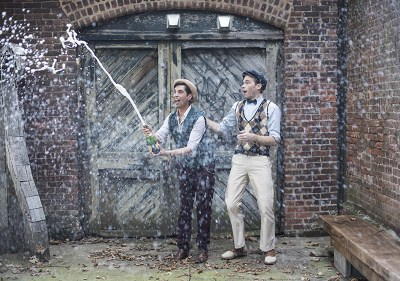 Industrial chic vibes at this vintage-inspired two-groom wedding inspiration