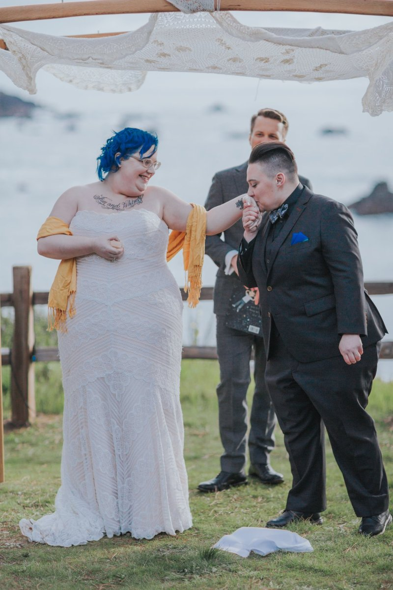 Can't stop the tears at this colorful non-binary California coast wedding