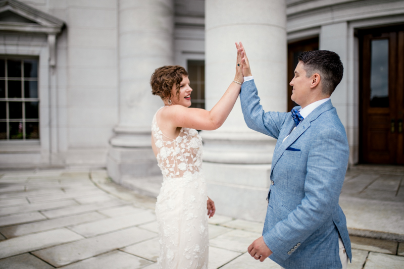 This intimate, queer state capitol wedding brought the perfect amount of rainbow magic