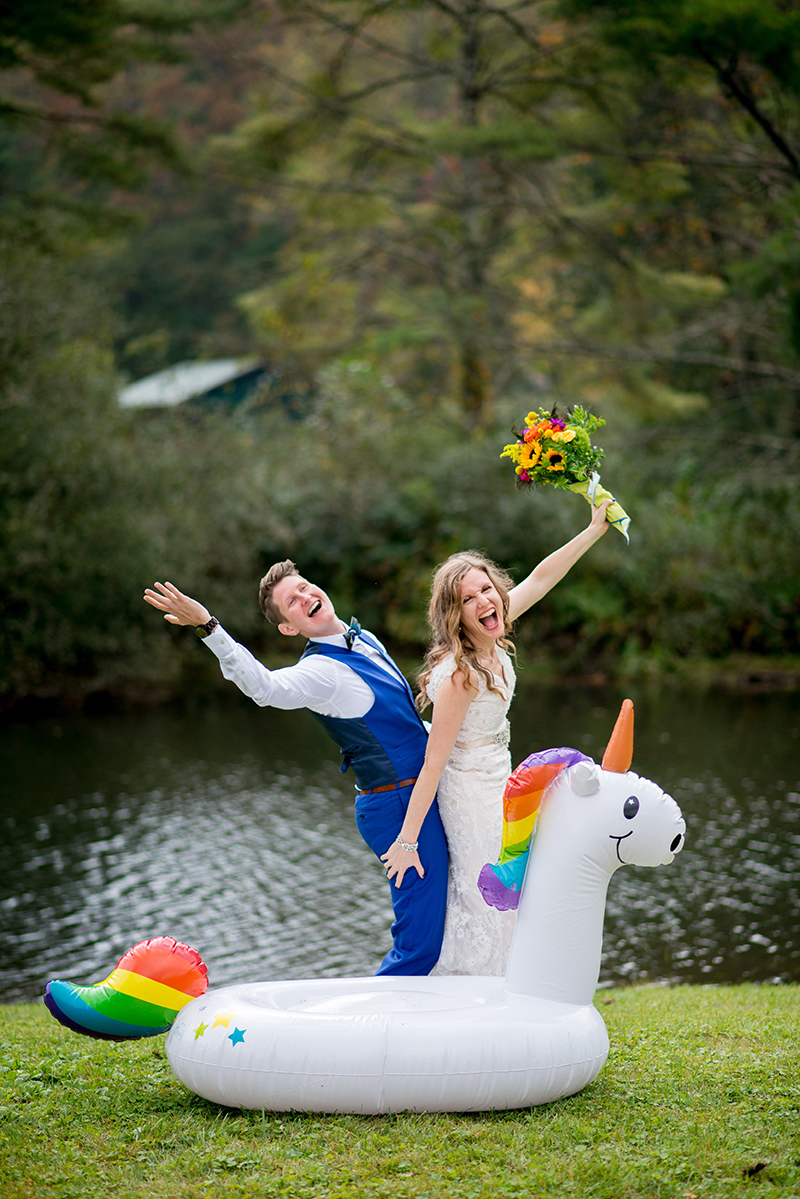 Love totally wins at this sparkly camp-chic unicorn interfaith queer wedding