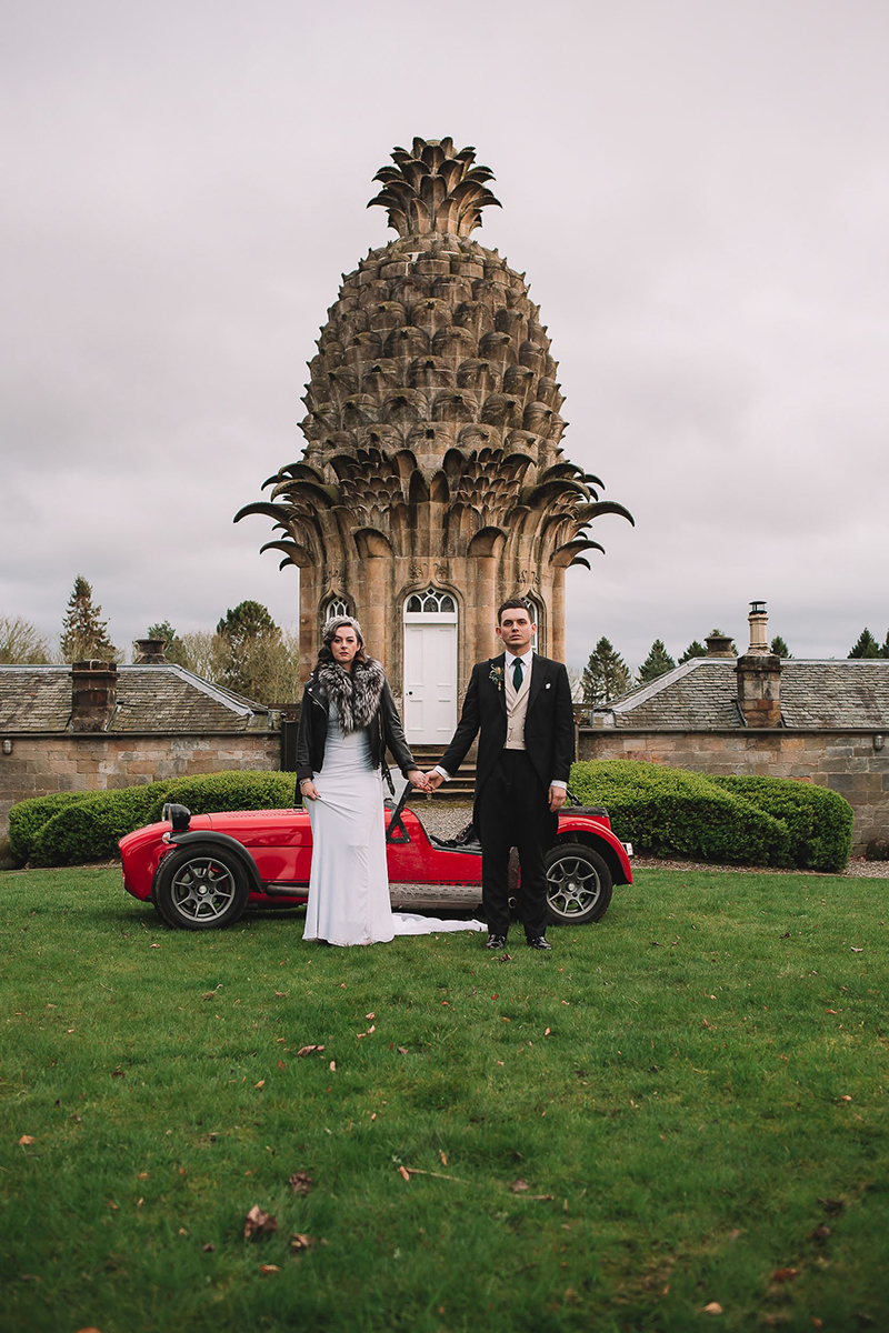 It's Scotch and upturned kilts at this historical meets pop culture meets burlesque wedding
