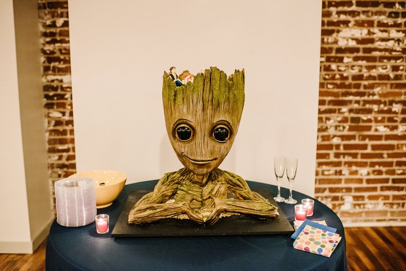 I AM CAKE: this colorful Tennessee wedding had the most amazing Groot cake