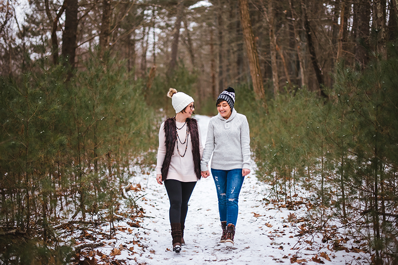 A magical frozen waterfall engagement shoot in the Poconos