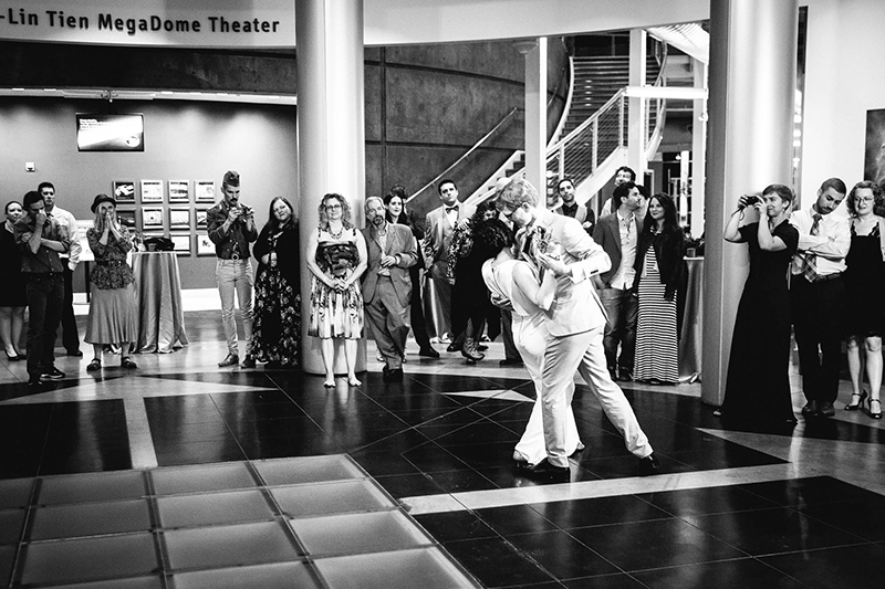 Crowns, pink flowers, & the cosmos at this Chabot Space Center wedding