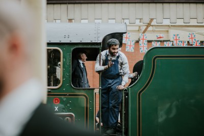 All aboard this gorgeous steam train wedding with a museum party in Manchester, UK