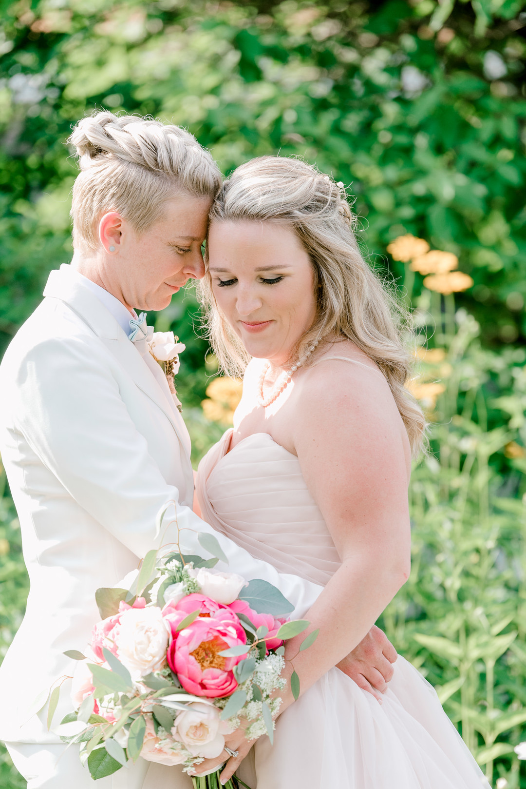 Two brides, a scrapbook proposal, & their sun-drenched nautical Maine wedding