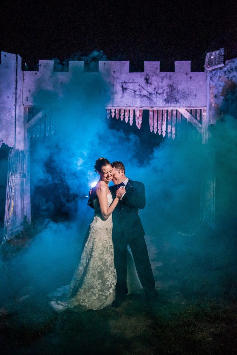 A New York confectionery wedding with smoke bombs, viking horns, & a haunted paintball field