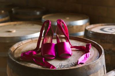 Vivid colors abound at this leather & acrylic wedding inspiration