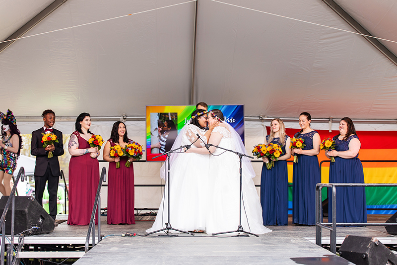 This adorable couple got married on stage at the Northampton Pride Parade