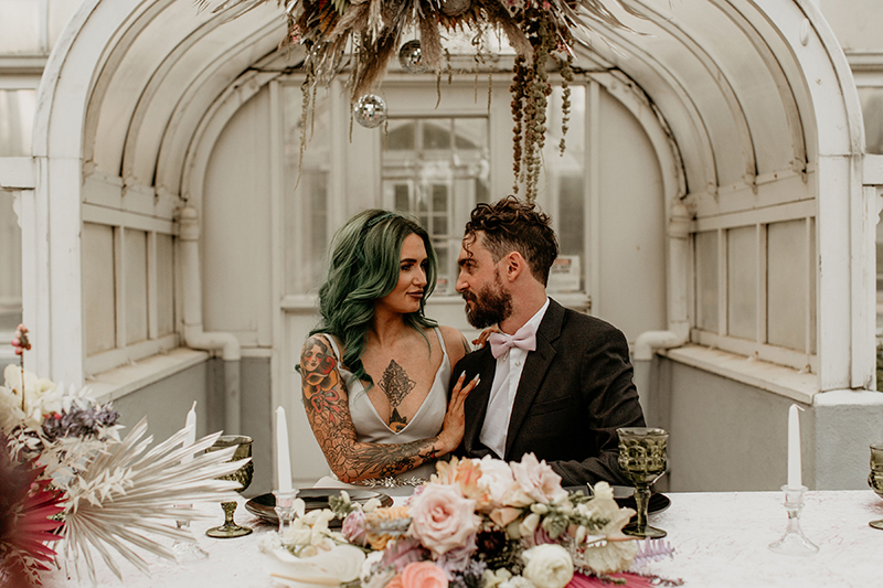 Rock star vibes abound at this Texas elopement inspiration with a silver wedding dress