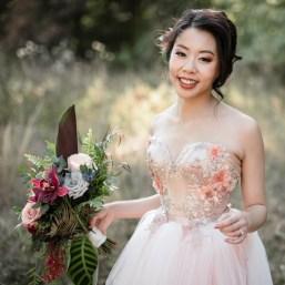 MollyPeachPhotography Dark Garden real bride ballerina corset wedding gown