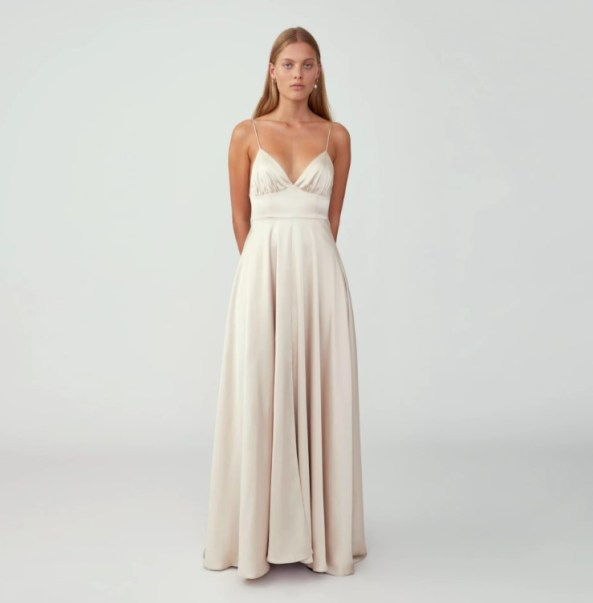 fame and partners strappy tri cup wedding dress on offbeat bride