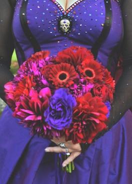 real bride Dark Garden purple goth rock and roll wedding corset dress bouquet