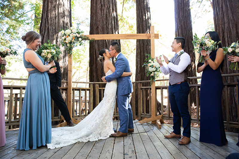 A chill & rustic California redwoods wedding with pups