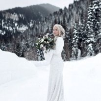 PolinaIvanova winter custom wedding dress on offbeat bride