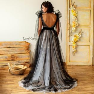 black tulle wedding dress by lacemerry