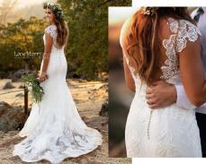 lacemerry cap sleeve wedding dress on offbeat bride