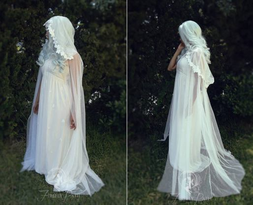 white floral sheer cape by firefly path on offbeat bride