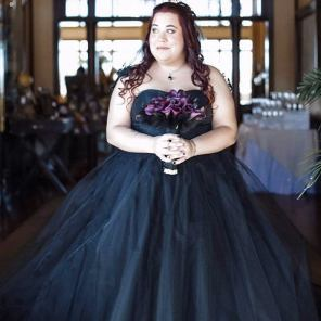 Real bride in a black wedding gown by French Knot on Offbeat Bride