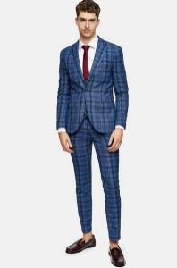top man blue suit on offbeat bride