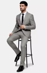 top man grey suit on offbeat bride