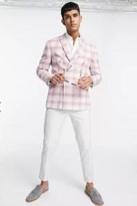 top man pink suit jacket on offbeat bride