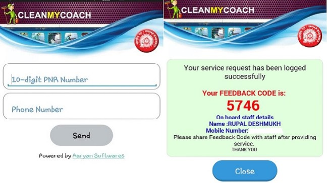 Cleanmycoach App, Indian Railways, Clean my coach