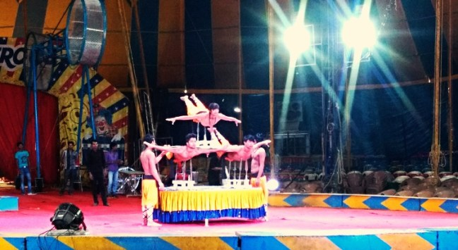 A sword performance by the artists at Rambo Circus Bangalore