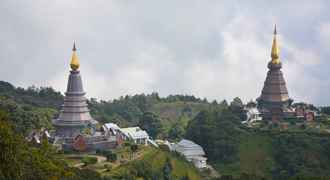 Twin Royal Chedis: King and Queen Pagodas [Naphamethinidon (นภเมทินีดล), and Naphaphonphumisiri (นภพลภูมิสิริ) are the main attraction at the summit of Doi Inthanon, the highest mountain peak of Thailand –Top places to visit on Chiang Mai Trip - Motorbike backpacking trip across Mae Hong Son Loop, Thailand