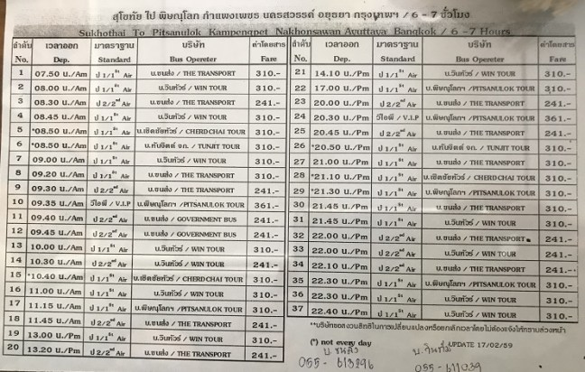 Thailand Bus Booking Schedule: Sukho Thai to Bangkok