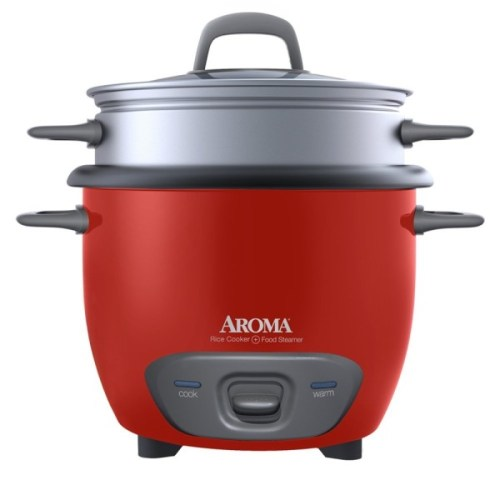 Aroma 3-Cup (Uncooked) 6-Cup (Cooked) Rice Cooker and Food Steamer in red -- $16.99