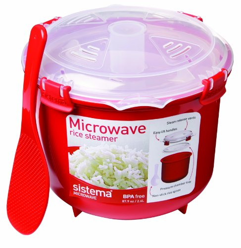 Here's the best budget option! The Sistema Microwave Rice Steamer -- $13.99