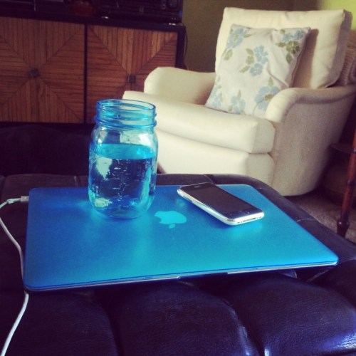 Megan's matches her laptop and water glass to her home decor. That's normal, right?