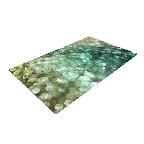 """""""Teal Sparkle"""" Green Glitter Woven Bath Mat"""