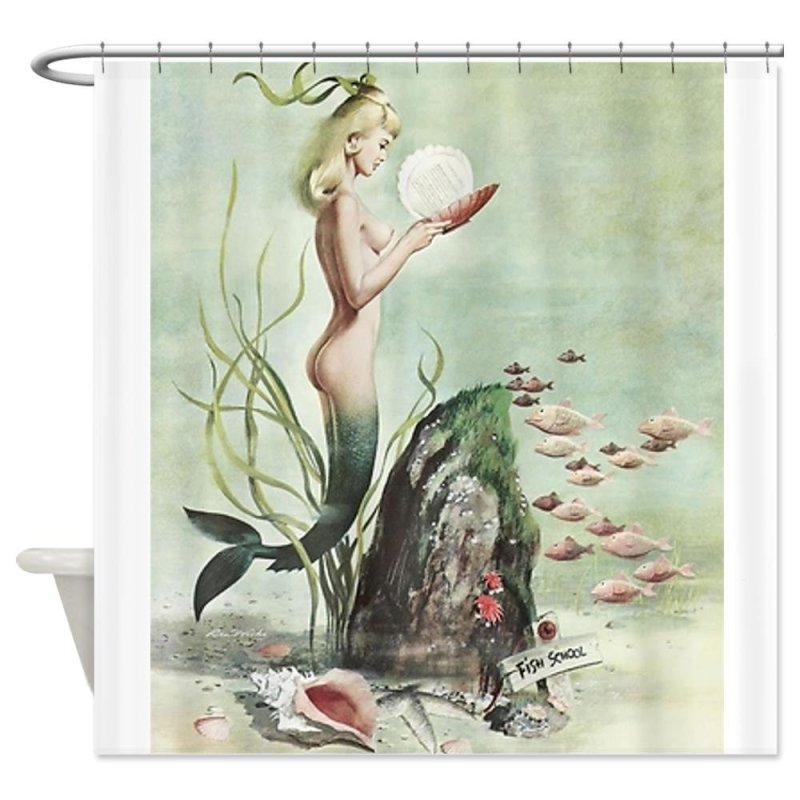 Retro Pin Up Mermaid with School of Fish Shower Curtain