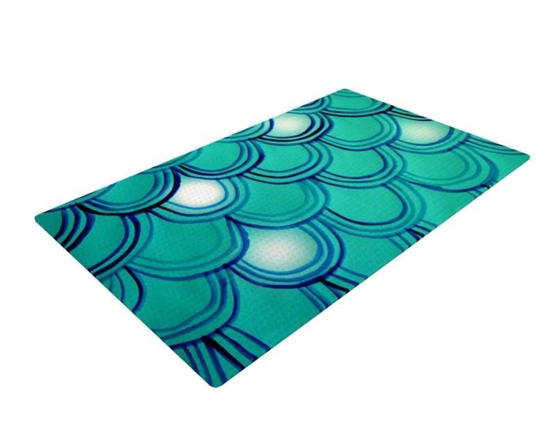 Mermaid Tail Teal Blue Woven Bath Mat