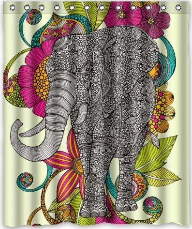 Elephant Beautiful Design Waterproof Fabric Polyester Bathroom Shower Curtain