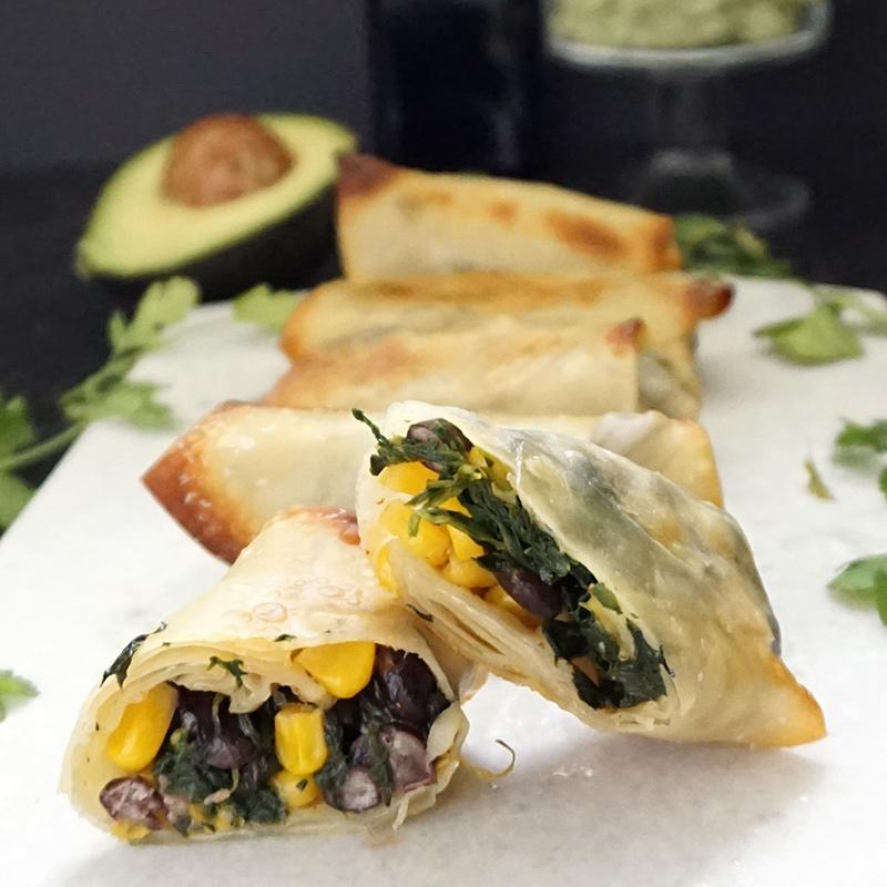 Southwest egg rolls and avocado cream recipe