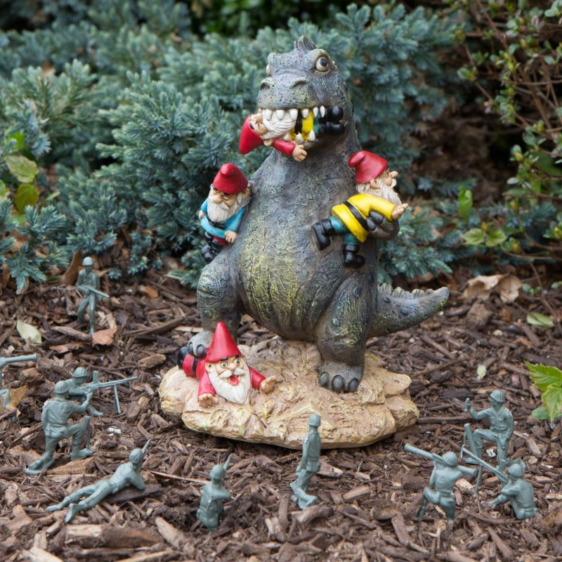 Yes, this is a dinosaur eating gnomes garden statue