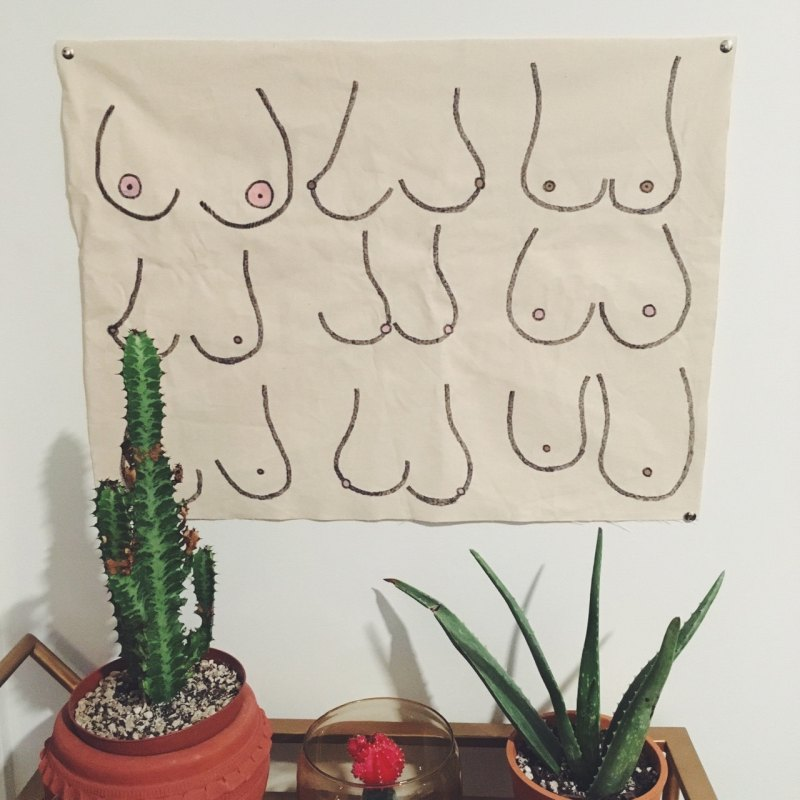 Boobs print wall hanging from Etsy seller  LonelyBirdVintage
