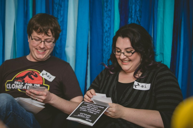 reading baby shower cards outloud