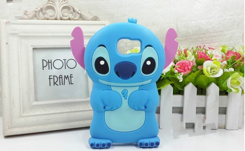 That is a photo frame next to a Stitch cell phone case for a Samsung Galaxy S6