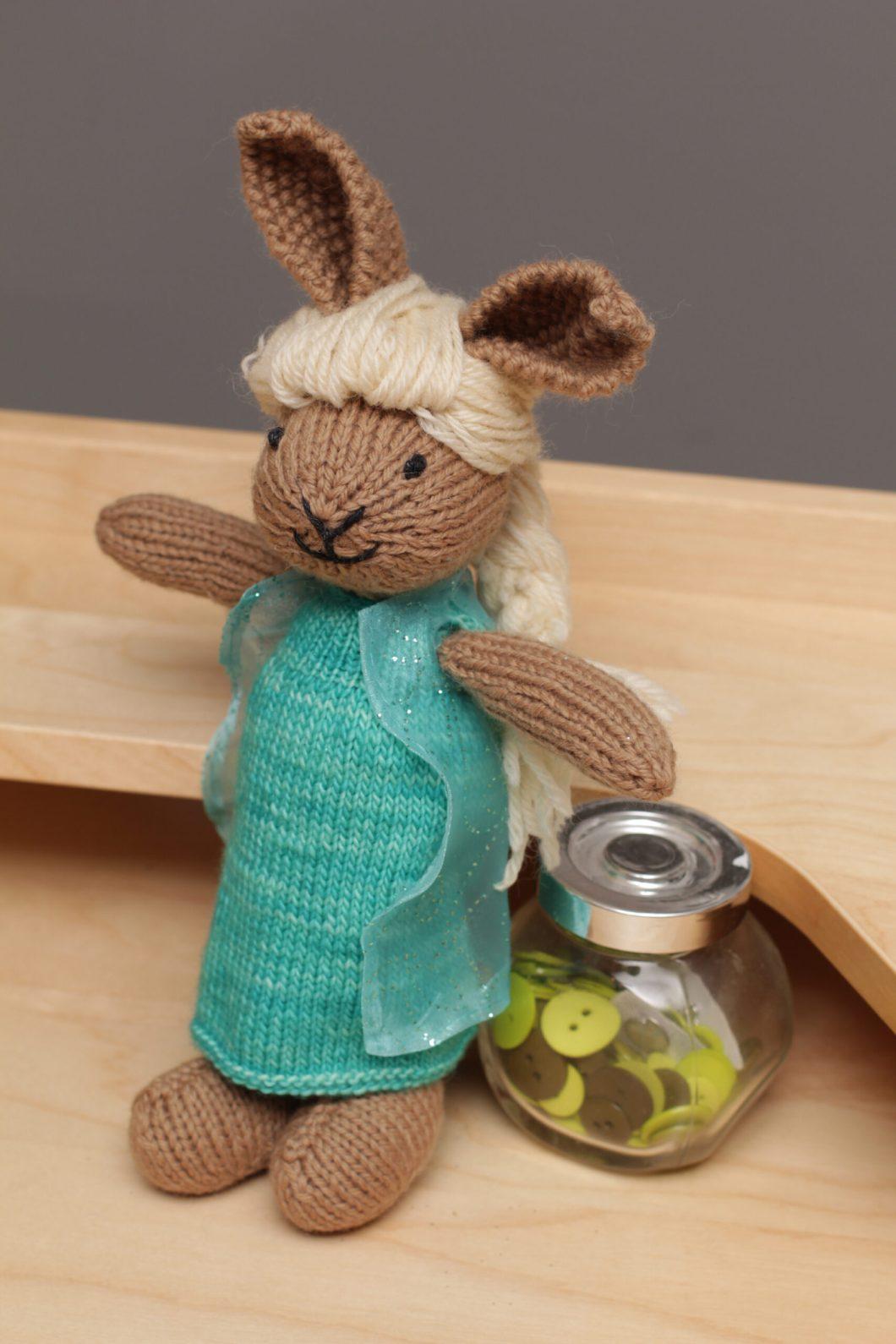 Hand knit Elsa bunny