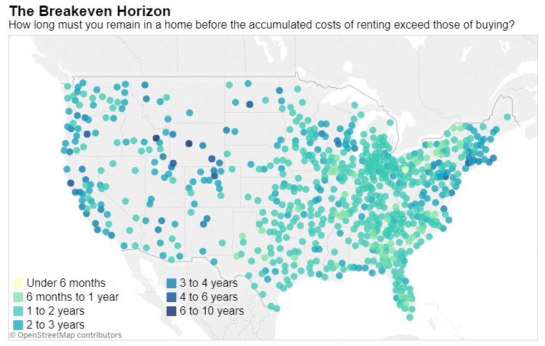 """Comparing buying vs. renting? Your state's """"breakeven horizon"""" might be key"""